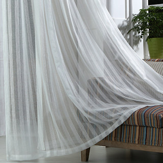 Sheer Curtain Silver Shimmery Striped White Voile Sheer Curtain 3