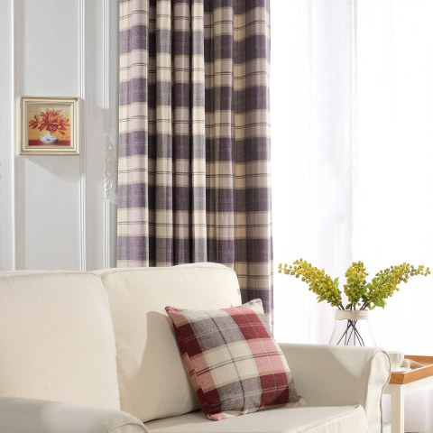 Cosy Plaid Check Light Purple Chenille Curtain 3