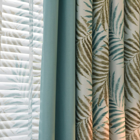 Palm Tree Leaves Blue Curtain with Blue Border 3