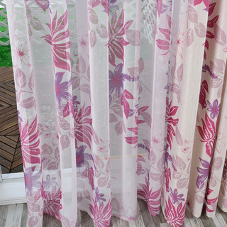Tropical Leaves Purple Pink Voile Curtain 3