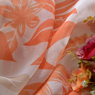 Tropical Leaves Orange Voile Curtain 4