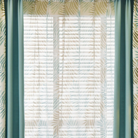 Palm Tree Leaves Blue Voile Curtain 2