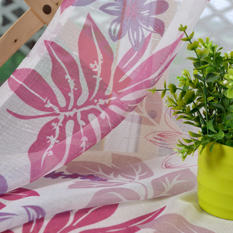 Tropical Leaves Purple Pink Voile Curtain 4