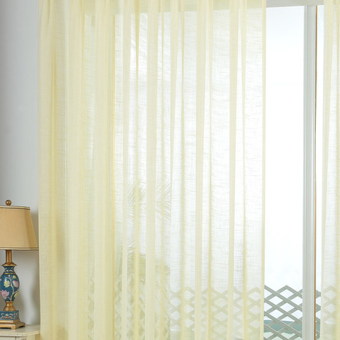 A touch of Sunshine Semi Sheer Lemon Yellow Voile Curtain 1