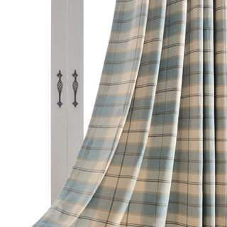 Cosy Plaid Check Light Blue Chenille Curtain 3