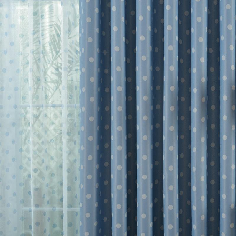 Classic Blackout Blue Polka Dot Curtain Voila Voile 174