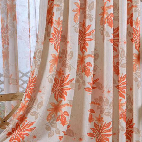 Tropical Leaves Orange Curtain 3