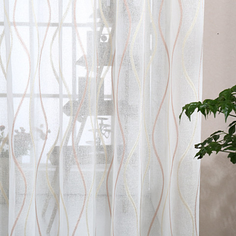 Wave Some Magic Ivory Voile Curtain 4