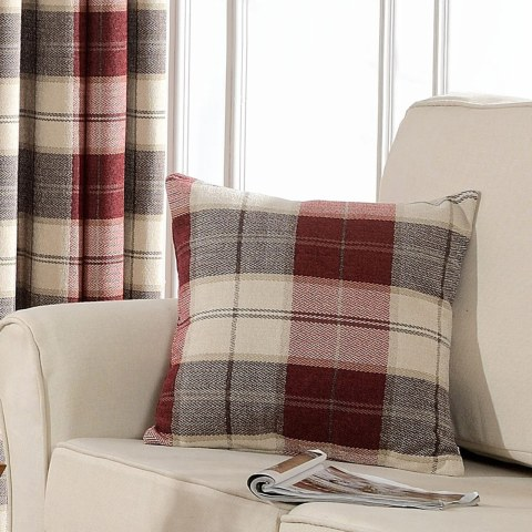 Cosy Plaid Check Burgundy Chenille Curtain 8