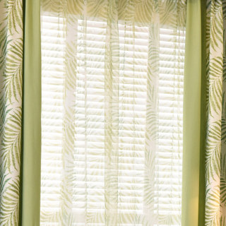 Palm Tree Leaves Green Voile Curtain 3
