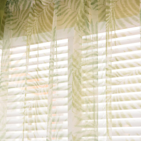Palm Tree Leaves Green Voile Curtain 1