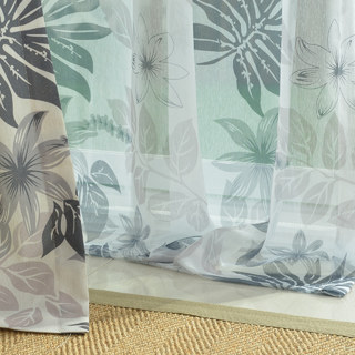 Sheer Curtain Tropical Leaves Grey Voile Curtain 3