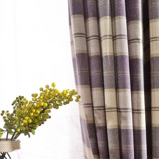 Cosy Plaid Check Light Purple Chenille Curtain 2