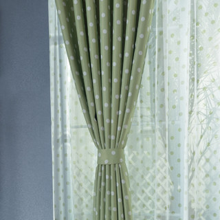Classic Blackout Green Polka Dot Curtain 4