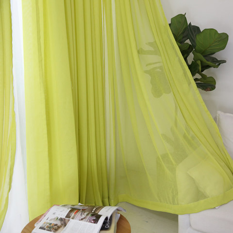 Notting Hill Lime Green Luxury Voile Curtain 4