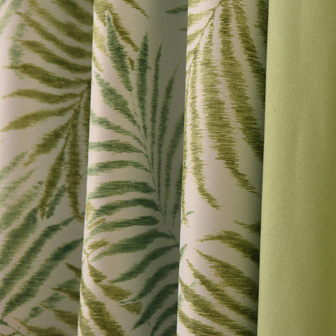 Palm Tree Leaves Green Curtain with Green Border 3