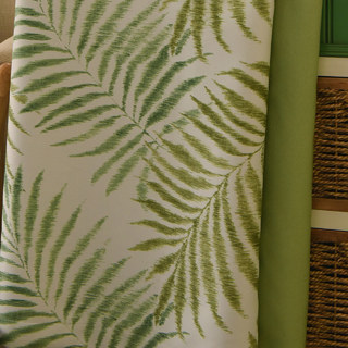 Palm Tree Leaves Green Curtain with Green Border 4