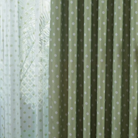 Classic Blackout Green Polka Dot Curtain 2