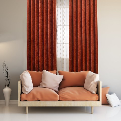 Luxury Terracotta Colour Chenille Curtain 1