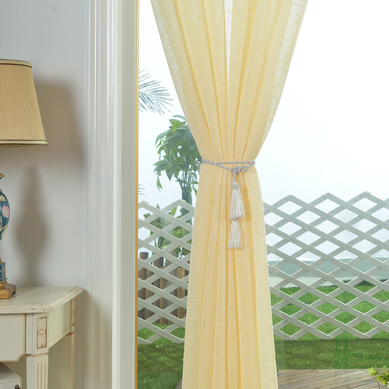 A Touch Of Sunshine Semi Sheer Lemon Yellow Voile Curtain