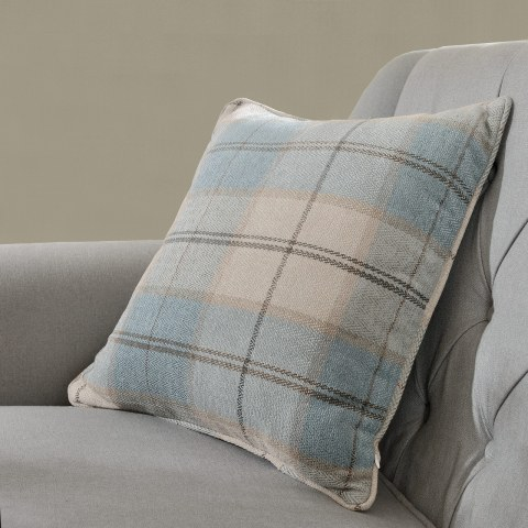 Cosy Plaid Check Light Blue Chenille Curtain 8