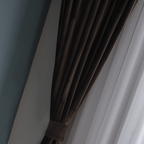 Velvet Microfiber Dark Brown Curtain 4