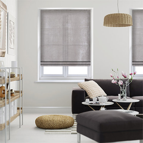 Luxury Silver Grey Colour Chenille Roman Blind 1