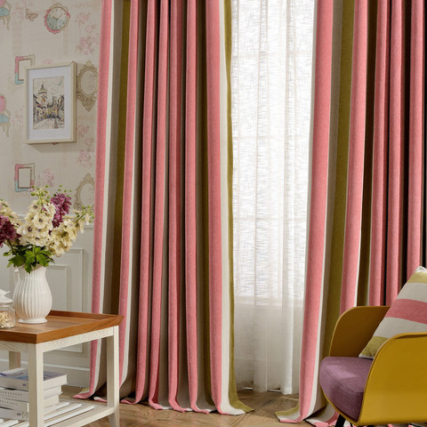 Sunshine Striped Yellow White Pink Chenille Curtain 1