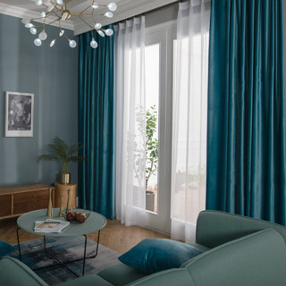 Velvet Microfiber Teal Blue Curtain 2