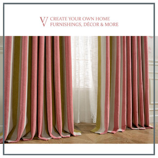 Sunshine Striped Yellow White Pink Chenille Curtain 2