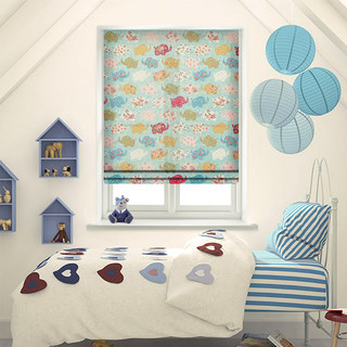 Baby Elephant Pink and Blue Roman Blind 1