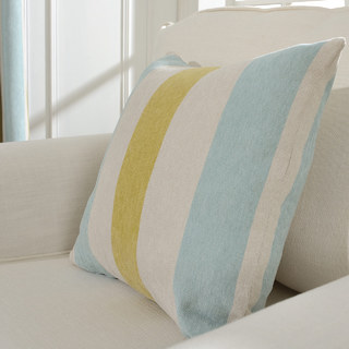 Sunshine Stripes Yellow White Light Blue Chenille Curtain 8