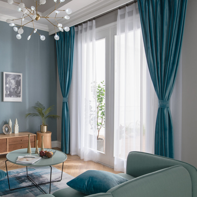 velvet microfiber teal blue curtain voila voile. Black Bedroom Furniture Sets. Home Design Ideas