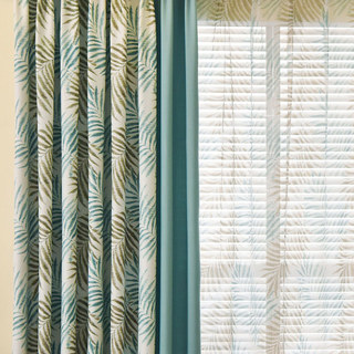 Palm Tree Leaves Blue Curtain with Blue Border 1