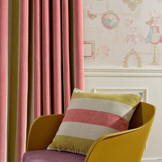 Sunshine Striped Yellow White Pink Chenille Curtain 3