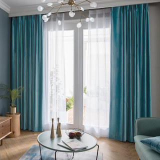 Velvet Microfiber Teal Blue Curtain 1