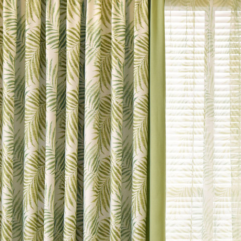 Palm Tree Leaves Green Curtain with Green Border 1