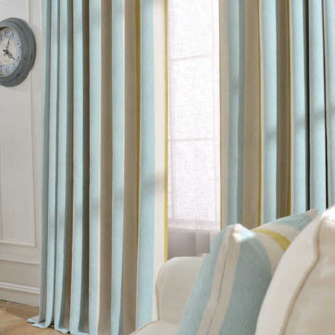 Sunshine Stripes Yellow White Light Blue Chenille Curtain 1