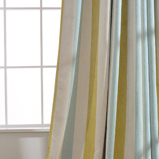 Sunshine Stripes Yellow White Light Blue Chenille Curtain 4