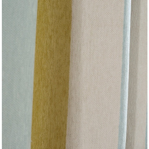 Sunshine Stripes Yellow White Light Blue Chenille Curtain 5