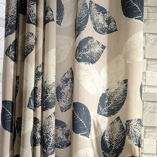 Block Leaf Navy Blue Curtain 1