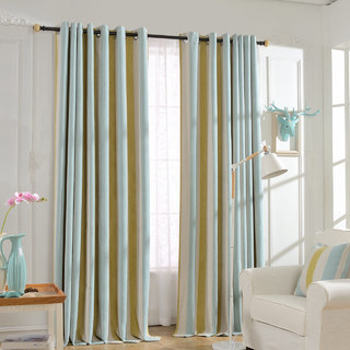 Sunshine Stripes Yellow White Light Blue Chenille Curtain 2