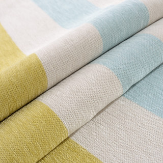 Sunshine Stripes Yellow White Light Blue Chenille Curtain 6