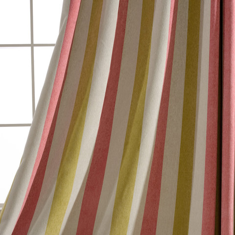 Sunshine Striped Yellow White Pink Chenille Curtain 6