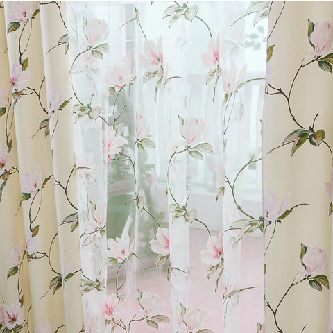 Pink Morning Flower Voile Curtain 3