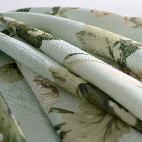 Pastel Peony Green and Cream Floral Curtain 7