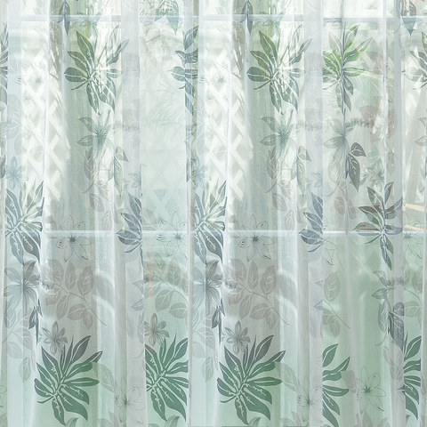 Sheer Curtain Tropical Leaves Grey Voile Curtain 1