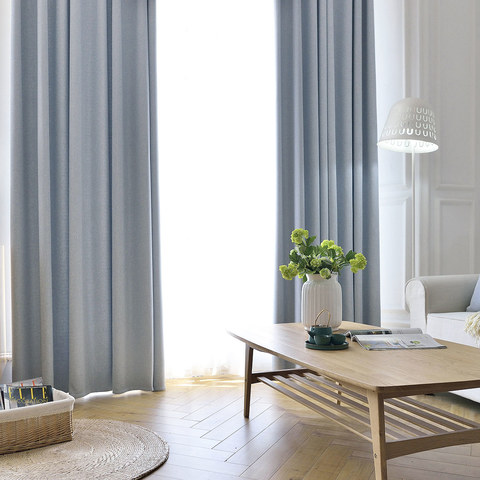 Blackout Zigzag Twill Baby Blue Curtain 6