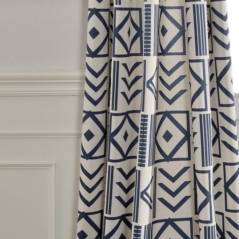 The City Sketch Blue Modern Geometric Roman Blind 5