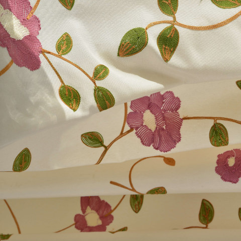 Floral Journey Pink Embroidered Roman Blind 1